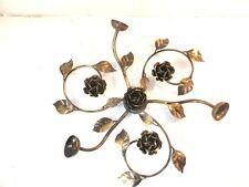 Plafoniera Lampadario ROSE Foglie in Ferro 3 luci nero oro da soffitto o parete