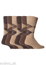 6 Pairs Mens MGG22 Gentle Grip Socks Size 6-11 Uk, 39-45 Eur Brown Argyle