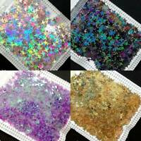 3D Nail Glitter Sequins Holographicss Star Flakes Paillette Nail Art Decor ~ UK