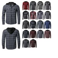 FashionOutfit Men's Casual Plaid Check Hoodie Cotton Flannel Long Sleeve Shirt