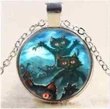 Cat Cabochon Tibet silver Glass Chain Pendant Necklace B4