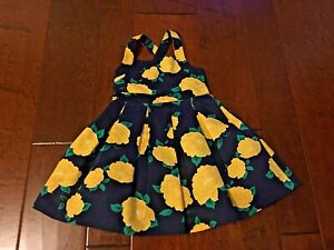 EUC Boutique Janie and Jack Girls Sz 2T Navy Yellow Floral Dress GORGEOUS Lined