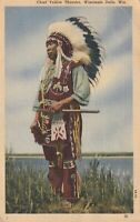INDIAN POSTCARD , CHIEF YELLOW THUNDER , WISCONSIN 1951
