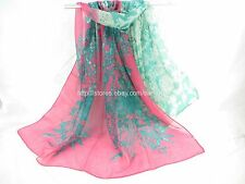 [US seller] vintage floral large scarf sarong hijab head scarf accessories