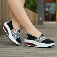 Women's Low Top Trainers Slip On Sneakers Sport Plimsolls Running Platform Shoes