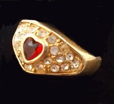 Vintage Faceted RED HEART Gemstone Cluster Ring Size 8 T2