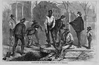 NEGRO RICHMOND CHAIN GANG CLEANING STREETS NEGROES SHOVELS BALL CHAIN POLICEMAN