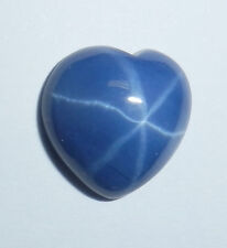 Blue Star Sapphire Heart 12 mm Flat Cabochon 6 Rayed Lab-created Opaque Stone