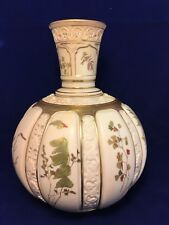 Antique Royal Worcester Blush Ivory Gilt and Polychrome Floral Decorated Vase