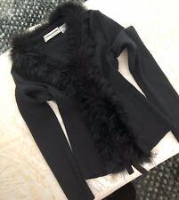 SONIA RYKIEL  Women's Black Wool Cardigan Sweater With Maribou Feather Collar