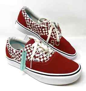 VANS Mens Comfycush Era Tear Check Red Suede Canvas Sneakers VN0A3WM9V9Z