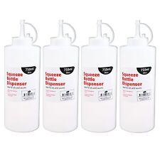 4 x 26oz 750ml Prep Squeeze Bottle Dispenser Oil Sauce Restaurant Kitchen