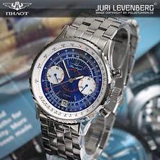 BLUE ANGELS Poljot 3133 Russian Aviator Chronograph mechanical watch Uhren blau