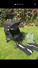 Maclaren Twin Techno Black Umbrella Double Seat Stroller Pushchair Buggy