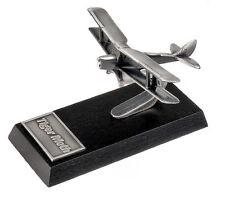 Tiger Moth Desk Model - Solid Pewter - Wooden Base