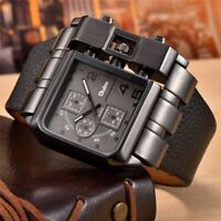 Casual Steam Punk Large Military Leather Strap Analog Quartz Men's Watch OULM