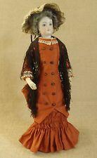 "Antique/vintage French Fashion Doll Walking Dress & Hat 18"" Doll"