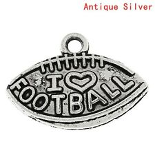 """20 pc Charm Pendant Rugby Football Sports """"I Love FOOTBALL"""" 21x15mm LC3726"""