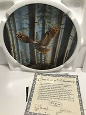 Cynthie Fisher *Sunset Splendor* Bradford Exchange owl bird plate Mint w/box Coa
