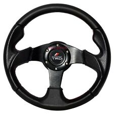 320mm Black Sports Steering Wheel Red Stitching with Racing TRD Emblem
