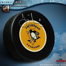 JAROMIR JAGR Signed Pittsburgh Penguins Retro Logo Puck - Florida Panthers
