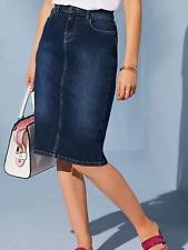 Kaleidoscope Size 8 Petite Dark Blue Denim Knee Length SKIRT Spring Summer £35