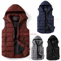 Men's Fleece Lined Hooded Vest Sleeveless Thick Waistcoat Casual Warm Jacket New