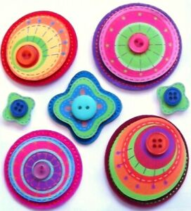 COLOURFUL LAYERED STITCHED SHAPES Jolee's Boutique 3-D Buttoned Stickers