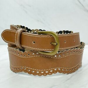 Betsey Johnson Brown Scalloped Vegan Faux Leather Belt Size Small S 28