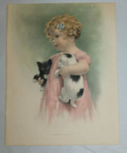 Bessie Pease Gutmann print Friendly Enemies 215 Girl Holding Cat and Dog