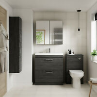 Athena Hacienda Black Bathroom Furniture Vanity Cabinet Basin Mirrors Bath panel