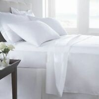 SHEET SET/DUVET SET/FITTED/FLAT 500TC 100% EGYPTIAN COTTON WHITE SOLID US-QUEEN