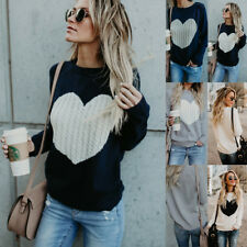 UK Womens Long Sleeve Sweater Blouse Ladies Knitted Heart Jumper Pullover Tops