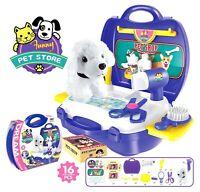 16 Pcs Plastic Pretend Play Puppy Dog Grooming Pet Store Groom Pets set Toy Kid