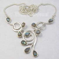 """925 Stamped Pure Sterling Silver Blue Drop 5 x 7 mm Labradorite Necklace 16.8"""""""