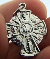 Womens .925 Sterling Silver Scapular Medal Cross Dove