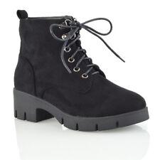 Womens Lace Up Ankle Boots Ladies Combat Platform Biker Cleated Sole Shoes Size