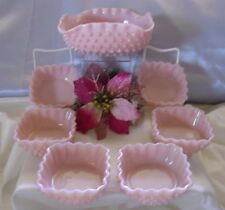 "FENTON""MNT+PRF~VINTAGE~SRC~50s""BABY PINK""MILK GLASS""GIANT HOBNAIL""7pc""BERRY SET"""