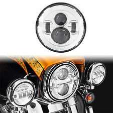 Chrome 7'' Inch Round LED Projector Headlight Daymaker HID For Harley Davidson