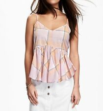 NWT $24.94 OLD NAVY-Womens Crop Top Swing Peplum Plaid Lilac Strap Cami Size Med