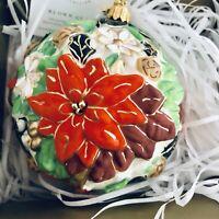 Hallmark Heritage Blown Glass Ornament Poinsettia Ball Christmas Flower 2018 NEW