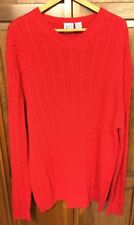 Field Gear Cable Knit Cableknit V-Neck Sweater Hong Kong Cotton Red Men XXL 2XL
