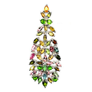 Unheated Marquise Tourmaline 4x3mm Chrome Diopside 925 Sterling Silver Pendant