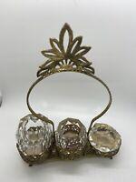 VINTAGE 60S HOLLYWOOD REGENCY FILIGREE HEAVY GLASS GOLD GILT ASHTRAY& HOLDERS