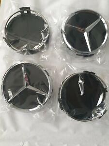 4Logo Mercedes Cache Moyeu Centre De Roue Jante Insigne Noir Mat 75mm envoi suiv