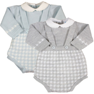 Baby boy Spanish style knitted braces shorts jumper romper suit set outfit