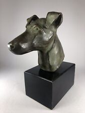 Vintage Lost Wax Bronze Head Study Of A Smooth Fox Terrier Dog, Outstanding!