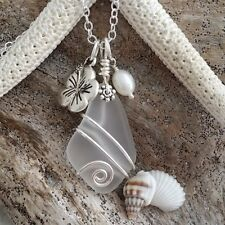 "Handmade in Hawaii, ""April Birthstone"" wire wrapped Crystal sea glass beach glas"