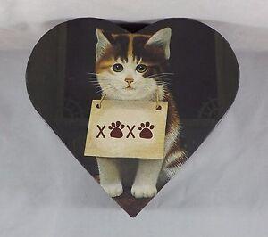 2000 Lang Candles Keepsake Decorative Heart Shaped Box with Kitten XOXO
