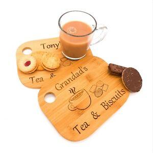 Personalised tea, coffee & biscuits treat board. Gift grandad, grandma, mum, dad
